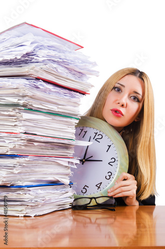 Busy woman with clock on white