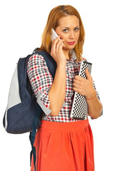 Student woman speaking by phone