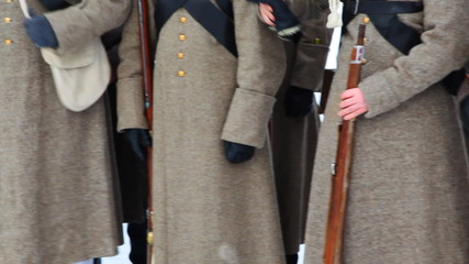 soldiers with weapons of Russian army 19th century