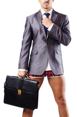 Nude businessman in business concept