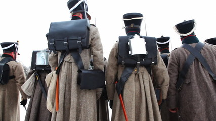 back of soldiers with weapons of Russian army 19th century
