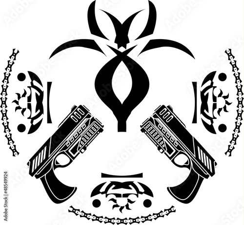 abstract symbol and pistols. stencil