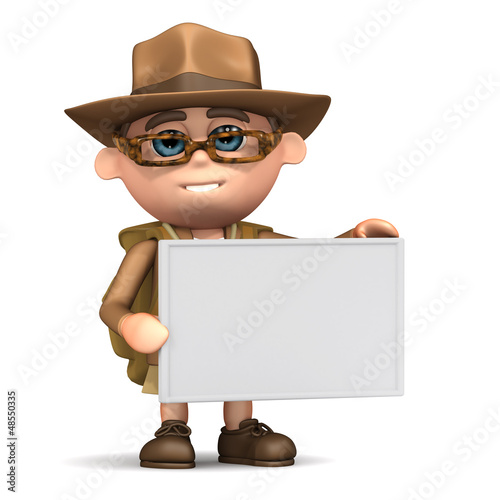 3d Explorer with blank sign