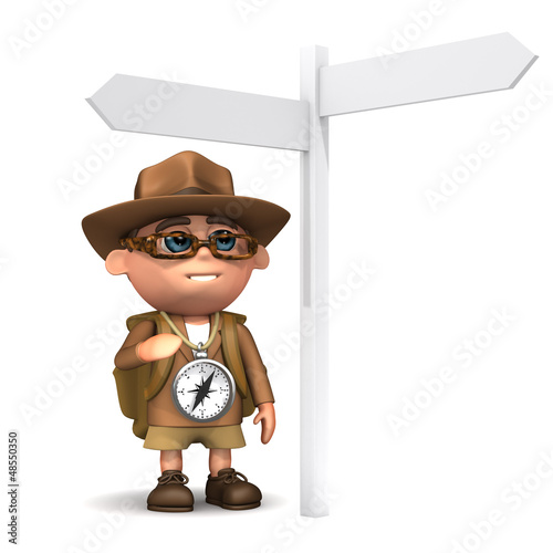 3d Explorer at road sign