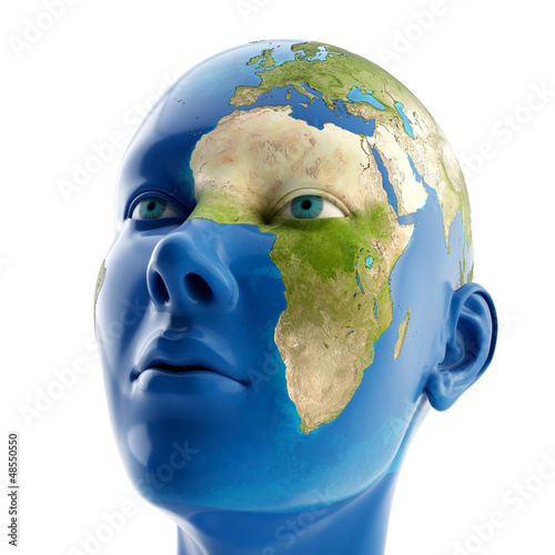 3d woman with map on her face. Elements of this image furnished