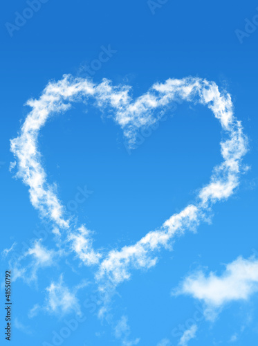 Blue sky with cloud style heart