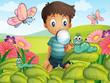 A little boy in the garden