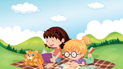 Girls reading with an animal