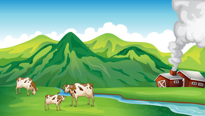 A farm house and cows