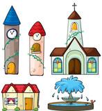 A clock tower, church, house and fountain