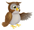 Pointing Cartoon Owl