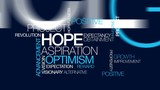 Hope aspiration vision word tag cloud animated video poster