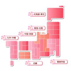 日本地図 日本 地図 桜 さくら