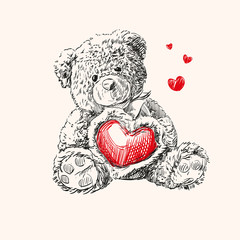 teddy bear with  heart. © vladischern