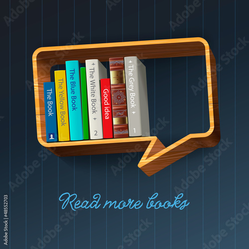 Bookshelf form of speech bubble, vector Eps10 illustration.