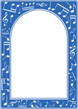 blue music arch frame with white center - vector