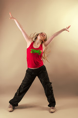Zumba fitness instructor in motion