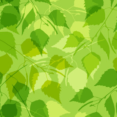 Seamless pattern with green birch leaves.