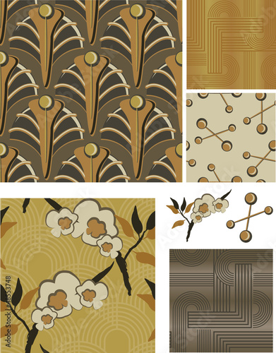 1930's Art Deco Inspired Floral Seamless Vector Patterns.