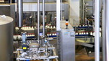 dairy factory with long zigzag moving conveyor of bottles milk poster