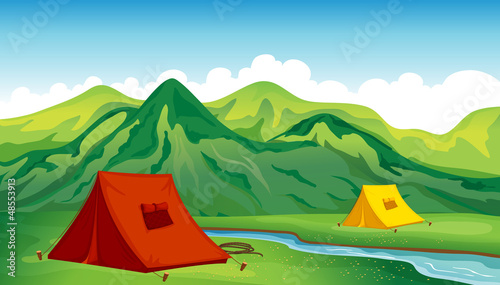 In de dag Indiërs A camping site