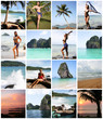 Collage of Happy Young Woman Enjoying on the Beach Thailand