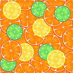 Seamless pattern of citrus, orange, lemon, lime slices