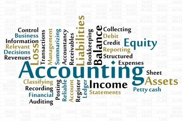 Accounting word cloud with data background