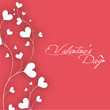 Beautiful Valentines Day greeting card or gift card with white h