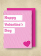 Happy Valentines Day greeting card in pink color with pink envel