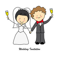 Invitación boda. Novios brindando con champagne