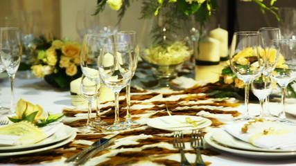 empty glasses on table beautiful decorated in restaurant