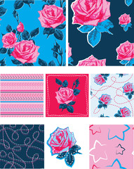 Bold Floral Rose Vector Patterns