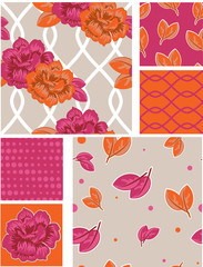Bollywood Floral Vector Patterns Swatches.