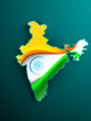 India map covered with national flag wave background. EPS 10.