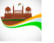 Indian flag color creative wave background with Red Fort monumen