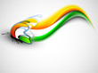 Indian flag color creative wave background with butterfly. EPS 1