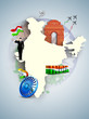 India map with India Gate, Asoka wheel. EPS 10.