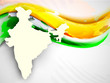 India map on national flag color creative wave background. EPS 1