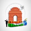 3D Creative background with India Gate, Asoka wheel. EPS 10.