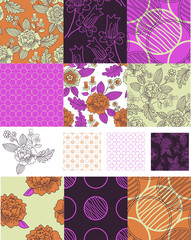 Contemporary Floral Vector Seamless Patterns.
