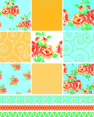 Country style floral patchwork seamless patterns and trims.