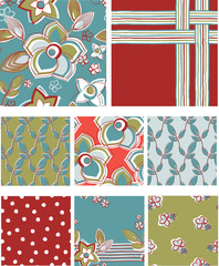 Modern Floral Seamless Vector Patterns.