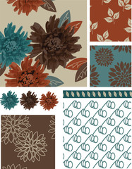Floral Vector Seamless Patterns and elements.