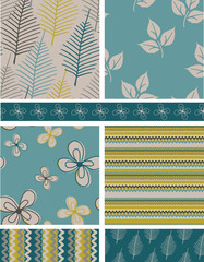 Spring Leaves & Floral Seamless Vector Patterns.