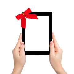 female hands holding a tablet with isolated screen and a red gif