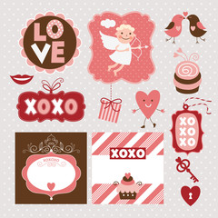 set of valentine's day elements