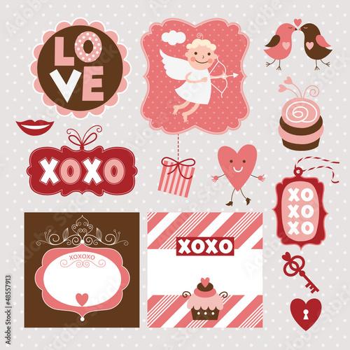 set of valentine's day elements