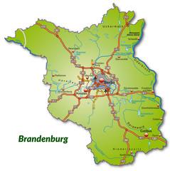 Landkarte von Brandenburg mit Autobahnnetz
