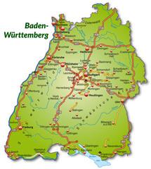 Landkarte von Baden-Württemberg mit Autobahnnetz